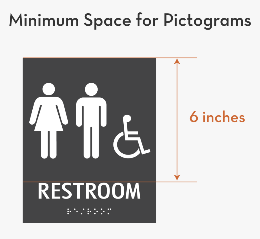 Minimum Space Dimensions For Pictograms On Ada Signs - All Gender Restroom Sign California, HD Png Download, Free Download