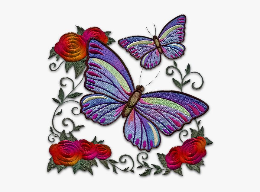 Desenho Borboletas Tipo Bordado Em E Flores Png Purple