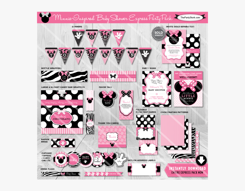 Transparent Baby Minnie Mouse Clipart - Baby Shower Decorations For Girls Of Minnie Mouse, HD Png Download, Free Download