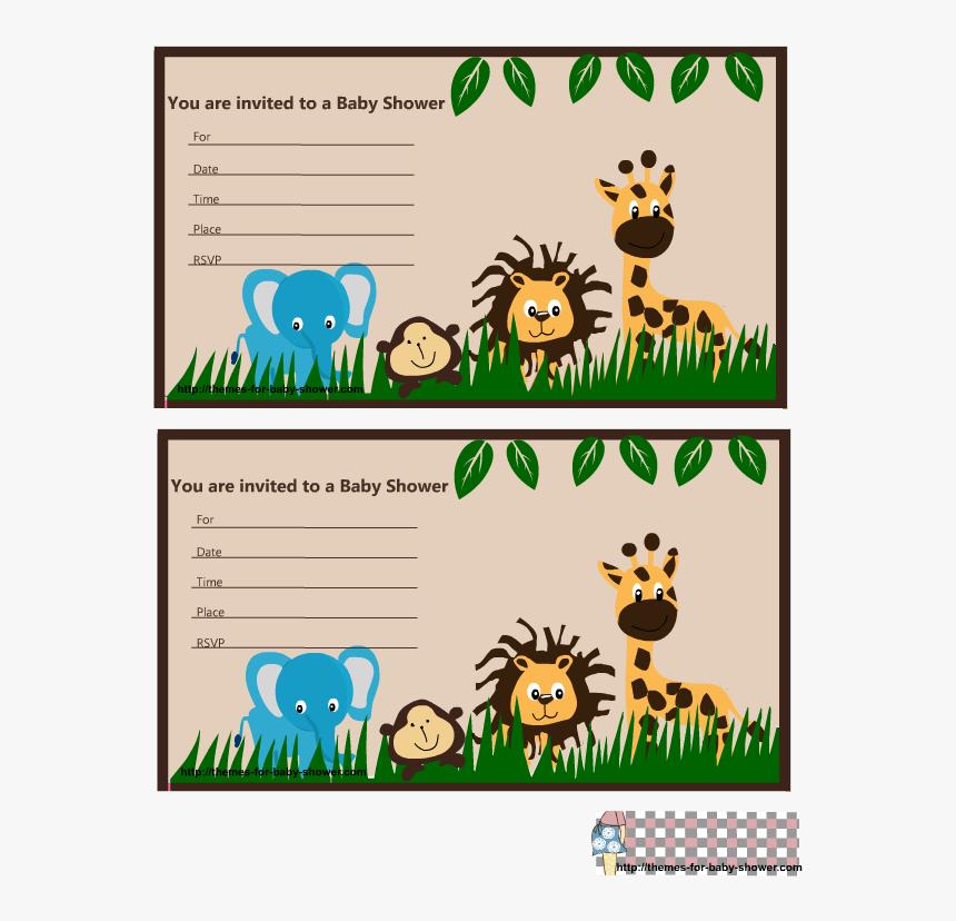Free Printable Jungle Baby Shower Invitations - Tarjetas De Invitacion De Animales De La Selva Para, HD Png Download, Free Download
