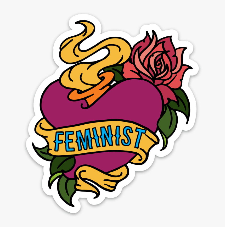 Feminist Tattoo Sticker - Traditional Heart Tattoo Outline, HD Png Download, Free Download