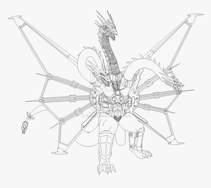 King Ghidorah Coloring Pages 4 By Peter Printable King Ghidorah Coloring Pages Hd Png Download Kindpng