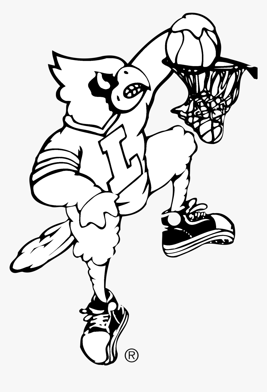 Louisville Cardinals Logo Black And White Png Download Louisville Basketball Dunking Cardinal Transparent Png Kindpng
