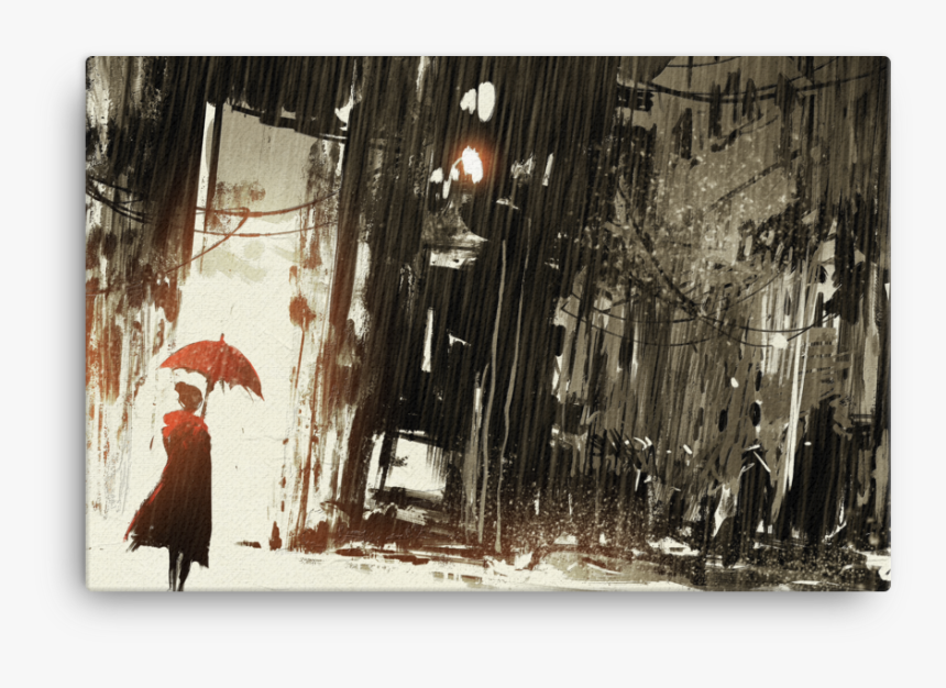 Clip Art With Umbrella In Abandoned - Lonely Woman With Umbrella In Abandoned City, HD Png Download, Free Download