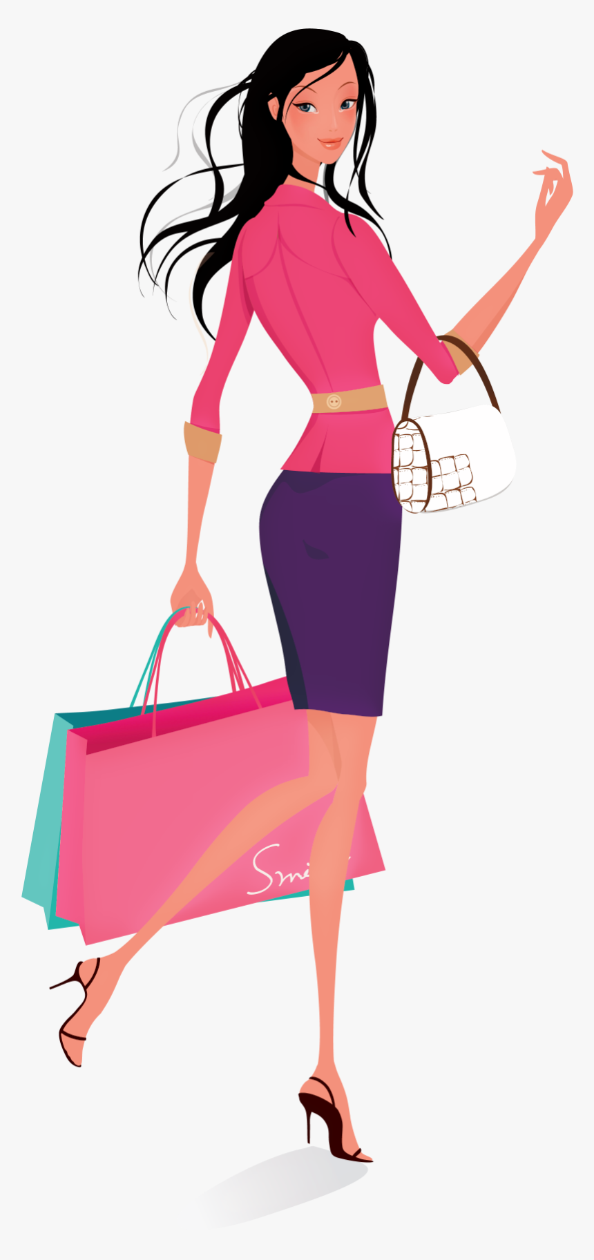 Shopping Women Vector - Women Shopping Illustration, HD Png Download, Free Download