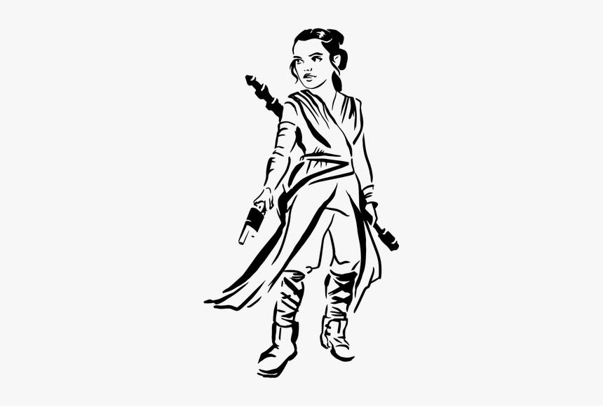 Female Warrior - Rey Star Wars Pumpkin Stencils, HD Png Download, Free Download