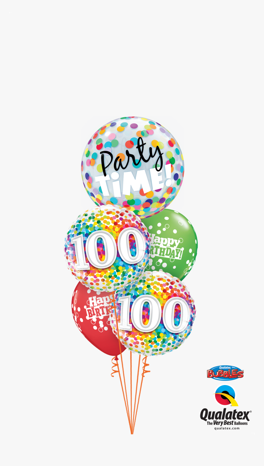 100th Bday Confetti Dots Party Time Bubble Staggered - Happy 100th Birthday, HD Png Download, Free Download