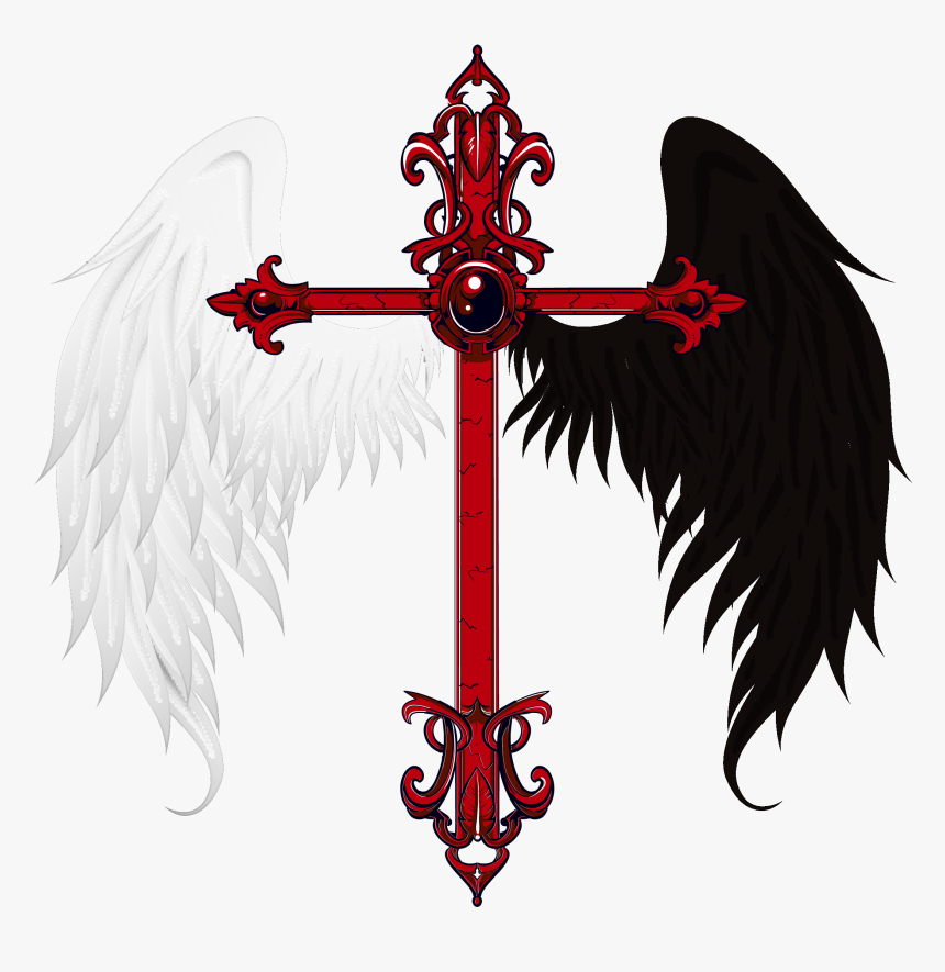 Angels Logo Png Transparent - Cross With Angel And Demon Wings, Png Download, Free Download