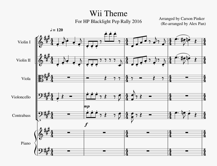 Transparent Mii Png - Wii Theme Song Sheet Music, Png Download, Free Download