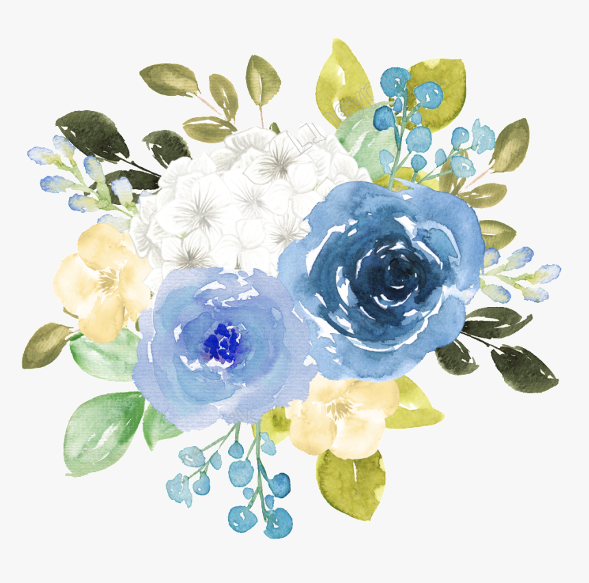 Transparent Floral Watercolor Png - Blue Watercolor Floral Png, Png Download, Free Download