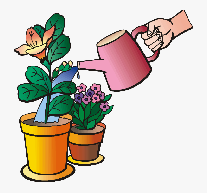 A Man Watering Flowers – Clipart Cartoons By VectorToons