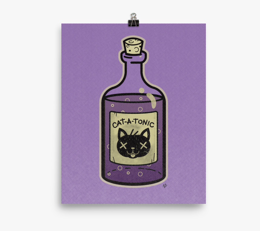 Cat A Tonic Poison Bottle - Glass Bottle, HD Png Download, Free Download