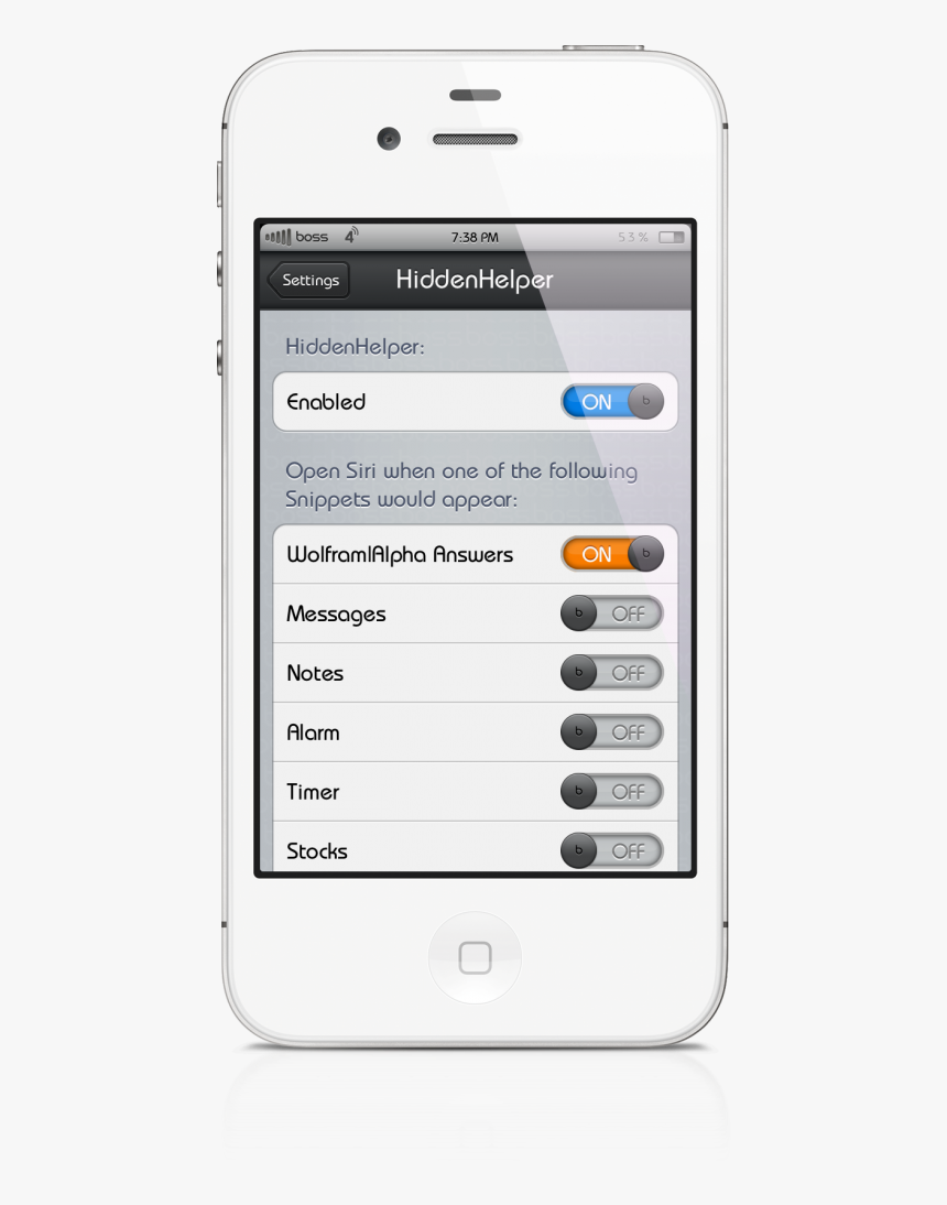 [cydia Tweak] Hiddenhelper Allows You To Invoke Siri - Smartphone, HD Png Download, Free Download
