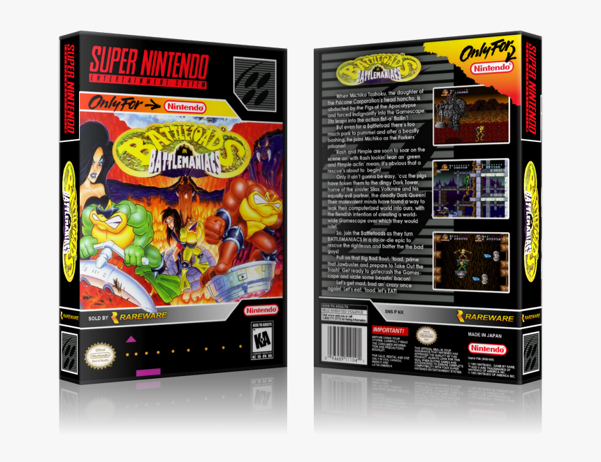 Battletoads In Battlemaniacs Replacement Nintendo Snes - Battletoads In Battlemaniacs Snes Logo, HD Png Download, Free Download
