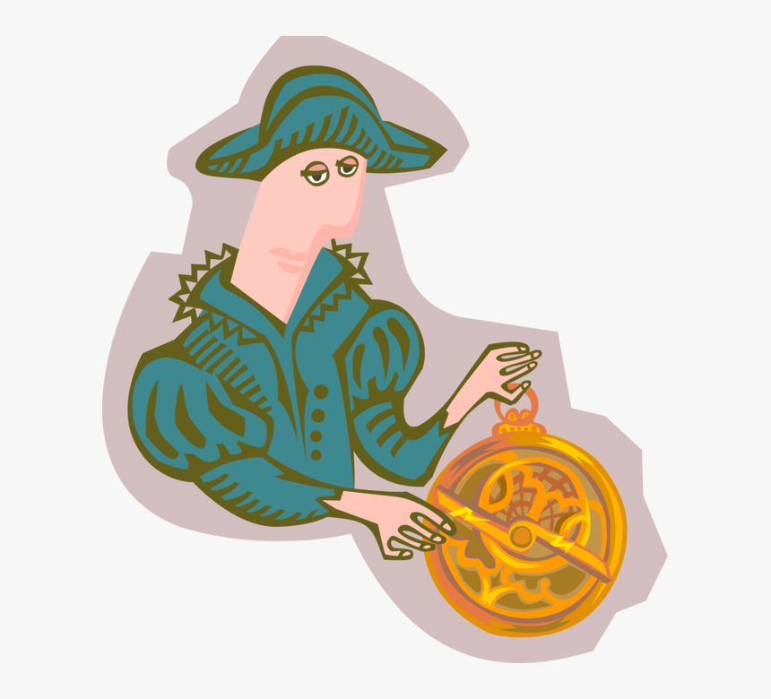 Vector Illustration Of Explorer Adventurer With Astrolabe - Illustration, HD Png Download, Free Download