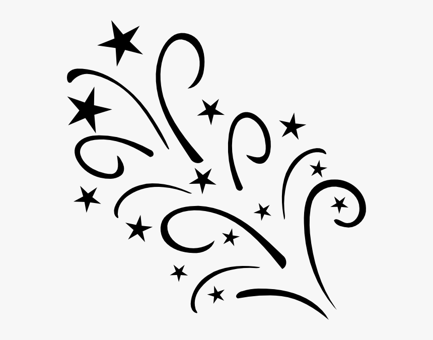 Transparent White Star Png Transparent Background - Shooting Stars Clip Art Black And White, Png Download, Free Download