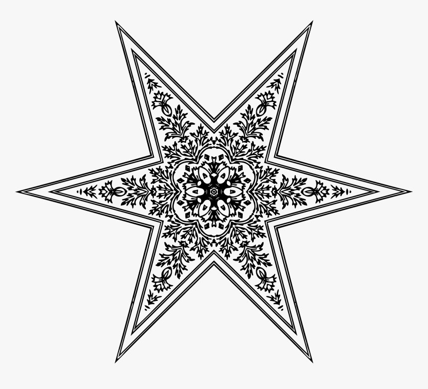 Ornamental Star Clip Arts - Mandala To Color Hearts, HD Png Download, Free Download