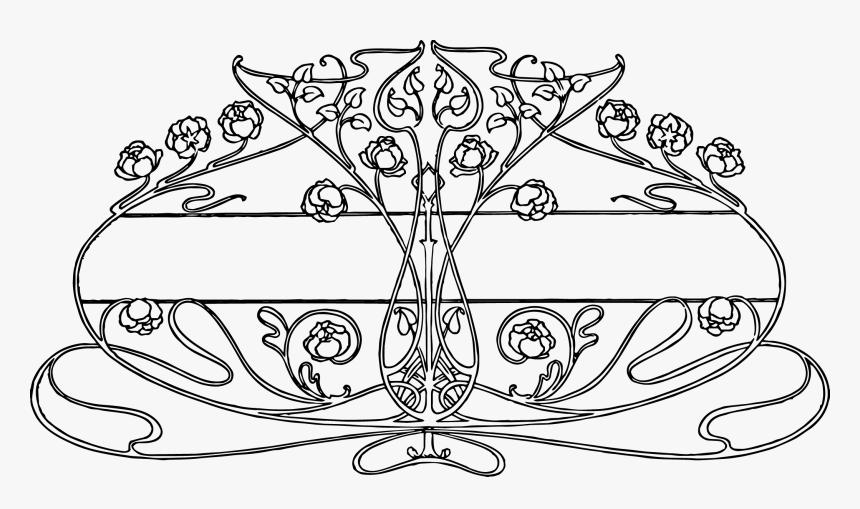 Clip Art Art Nouveau Flower - Art Nouveau Line Drawing, HD Png Download, Free Download