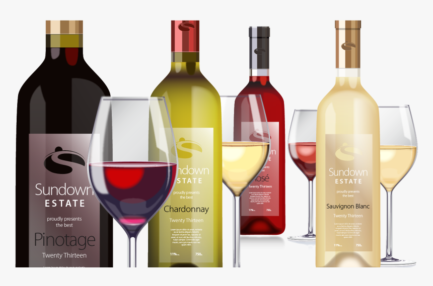 Wine Bottles And Glasses 2, Vector - Hd Wine Bottles And Glasses Png, Transparent Png, Free Download