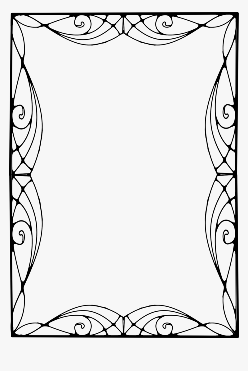 Line Arts,coloring Frame,black And White,floral Design,art - Pattern Border Art Nouveau, HD Png Download, Free Download