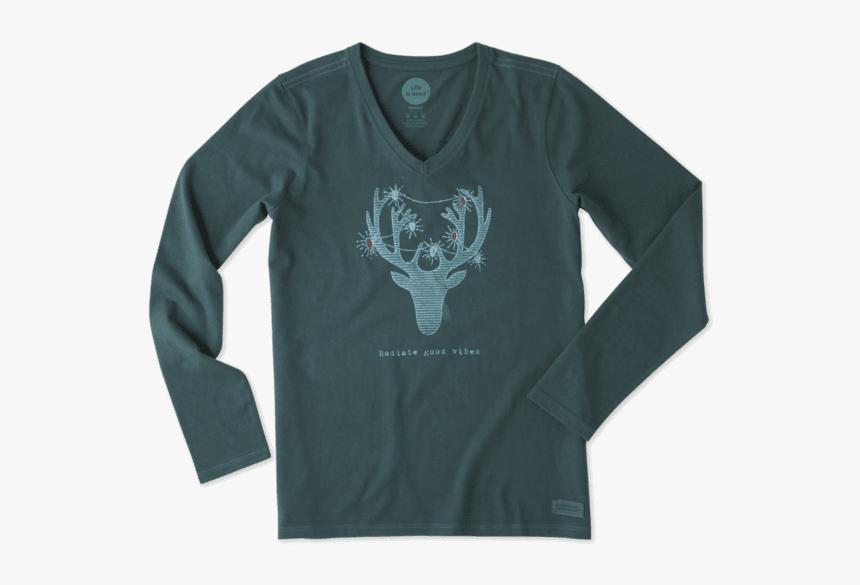 "Women""s Reindeer Vibes Long Sleeve Crusher Vee - Long-sleeved T-shirt, HD Png Download, Free Download"