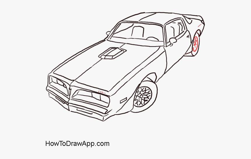 Pontiac Firebird Drawing Line Art Car Clip Art - Pontiac Firebird Trans Am Drawing, HD Png Download, Free Download