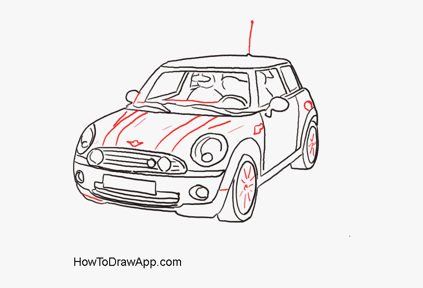 How To Draw A Mini Cooper Car Step By Step With Pictures - Line Drawing Mini Cooper, HD Png Download, Free Download