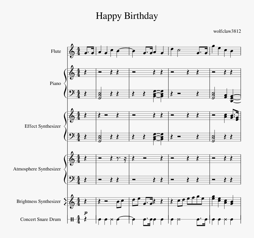 Happy Birthday Creation Sheet Music For Flute Piano Sheet Music Hd Png Download Kindpng