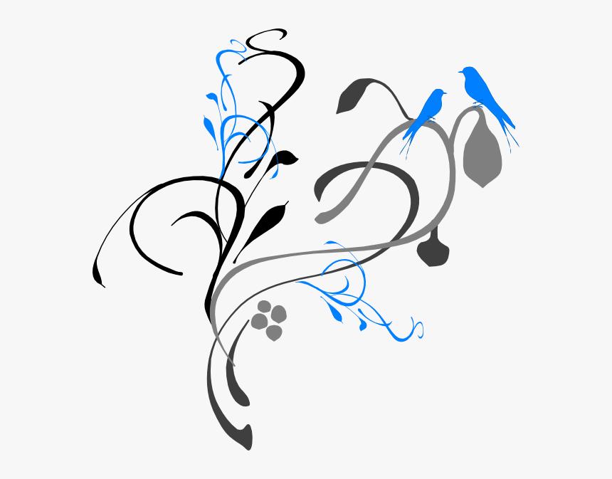 Birds On A Branch Grey/blue Svg Clip Arts - Black And White Border Design Flower, HD Png Download, Free Download