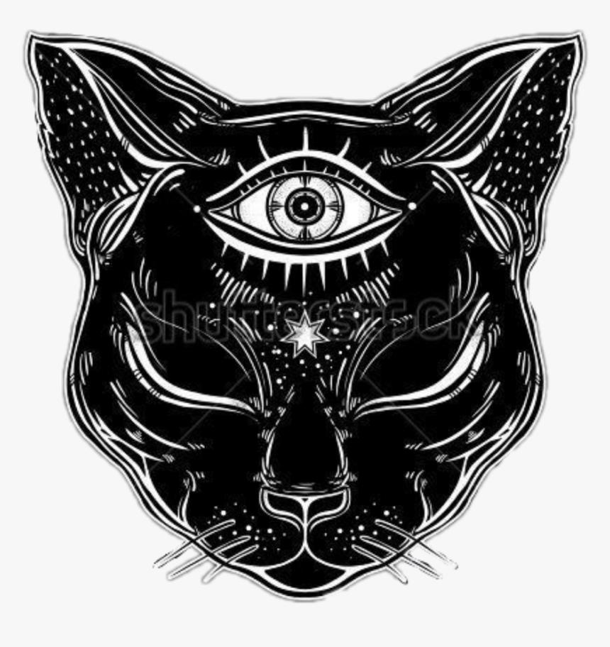 Eye Illuminati Cat Blackcat Blackandwhite Freetoedit - Cat With Third Eye, HD Png Download, Free Download