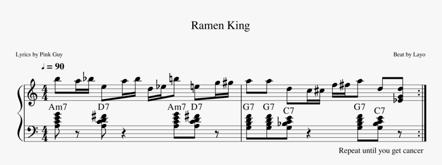 Ramen King Sheet Music Composed By Beat By Layo 1 Of - Ramen King Piano Notes, HD Png Download, Free Download