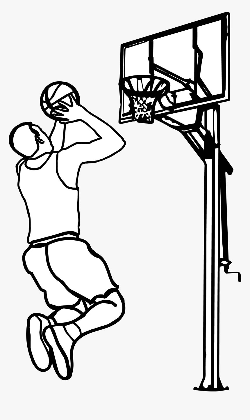 Basketball Outline Playing Clipart The Cliparts Play - Playing Basketball Clipart Black And White, HD Png Download, Free Download