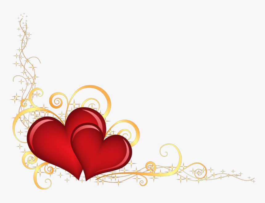 Hearts Border Png - Red And Gold Hearts, Transparent Png, Free Download