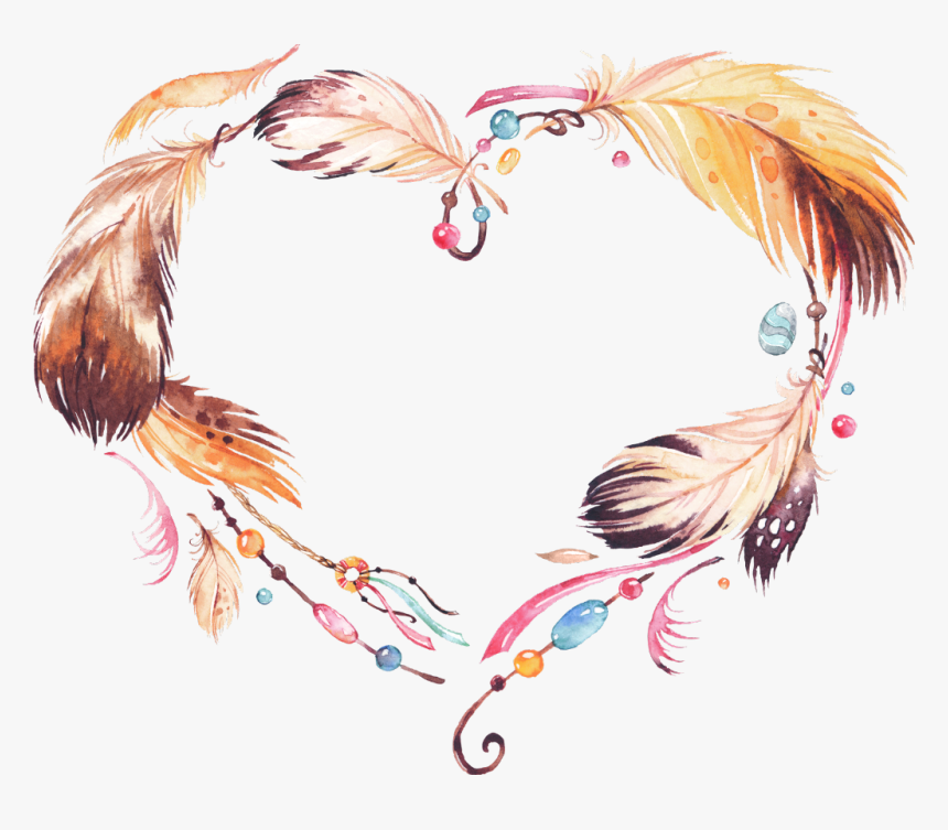 #feather #feathers #boho #bohemian #bohofeathers #tribal - Watercolor Dream Catcher Transparent Grey, HD Png Download, Free Download