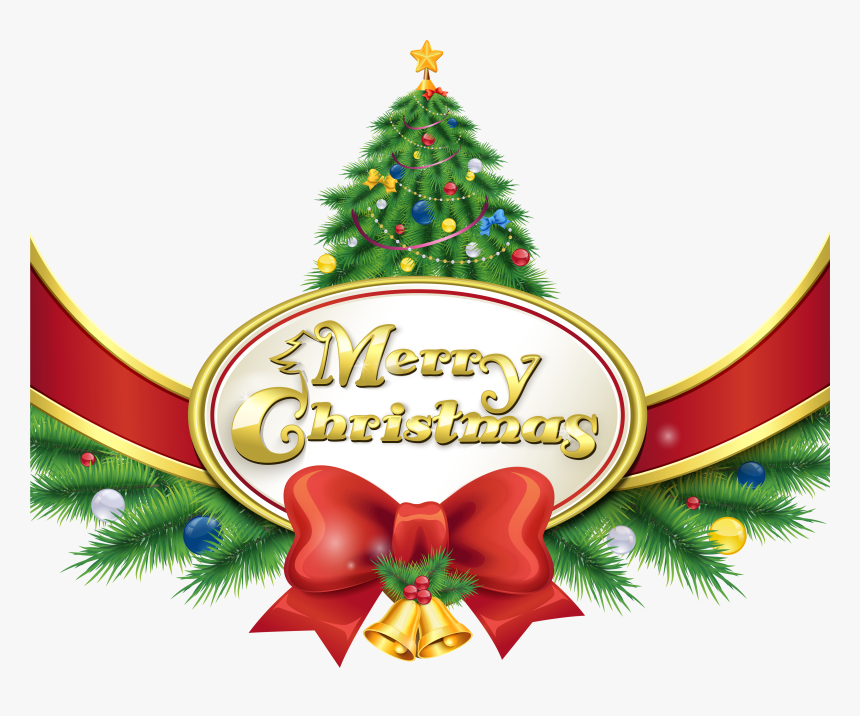 Merry Christmas With Tree And Bow Png Clipart Imageu200b - Christmas Tree Merry Christmas Clip Art, Transparent Png, Free Download
