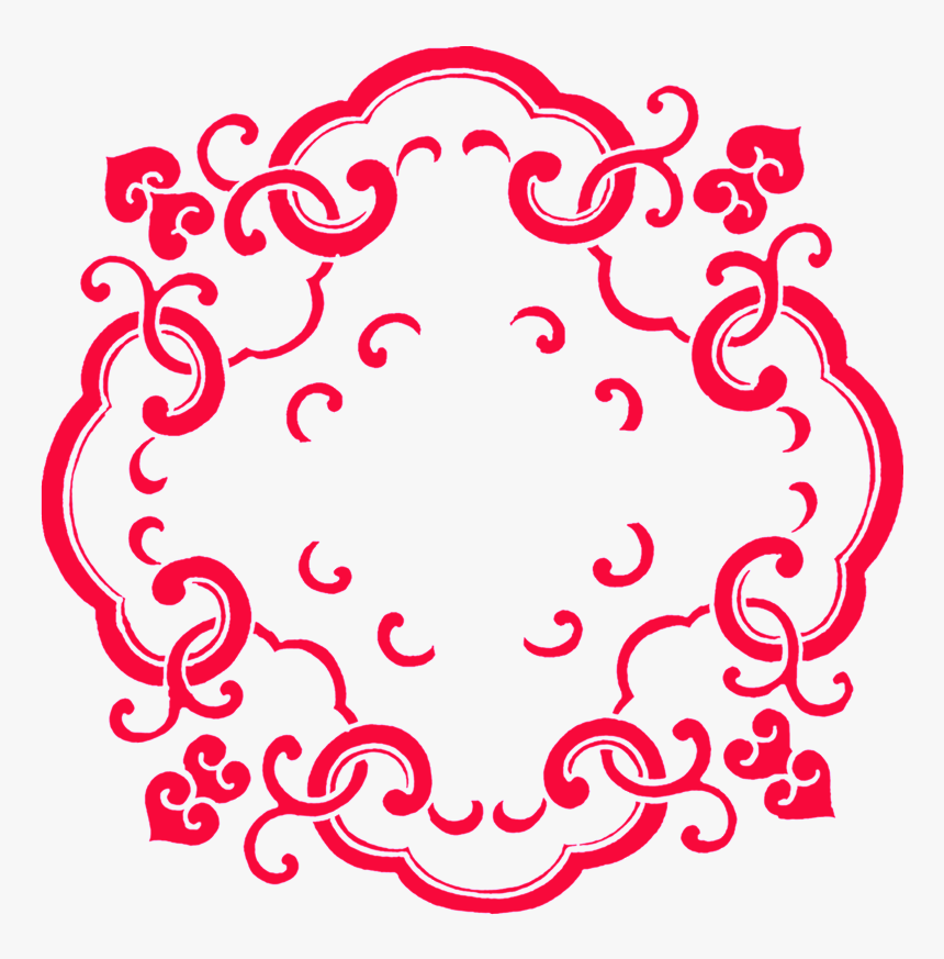 Red Vintage Pattern Decoration Vector - Boy Chinese Paper Cutting Girl, HD Png Download, Free Download