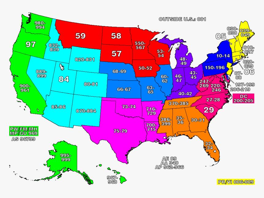 Zip Code Zones - Us Zip Code Map, HD Png Download, Free Download