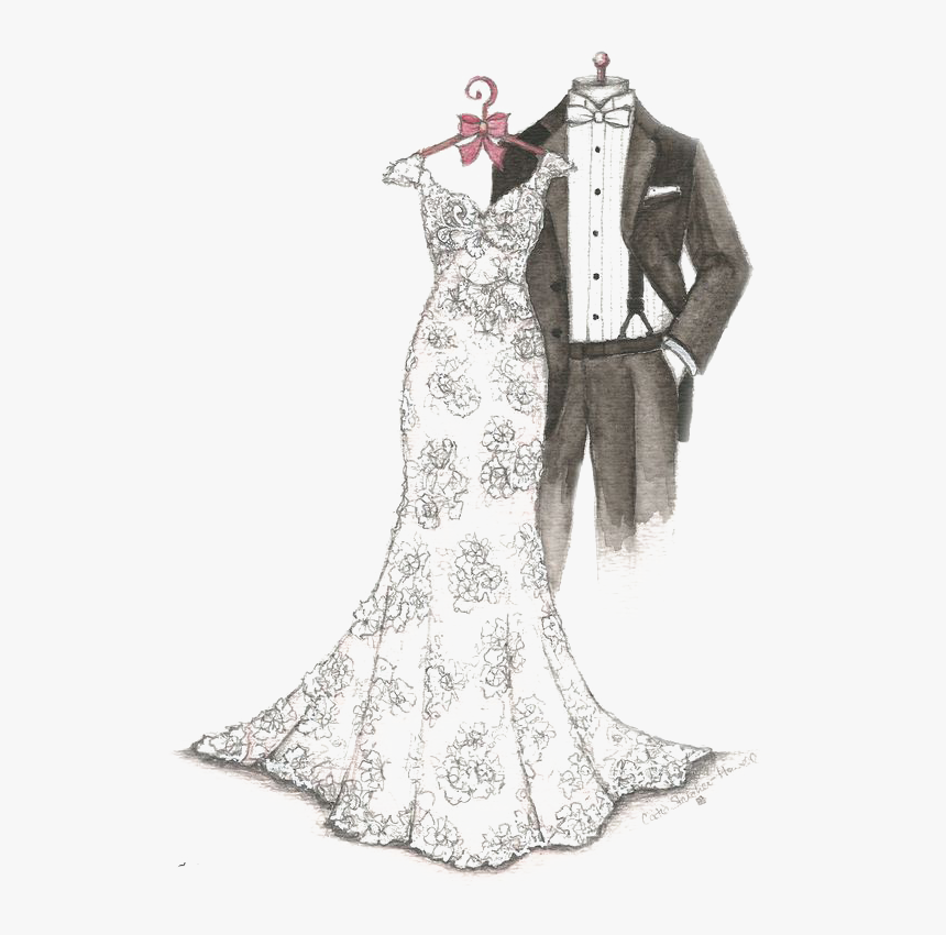 Transparent Prom Dress Clipart - Wedding Dress And Suit Png, Png Download, Free Download
