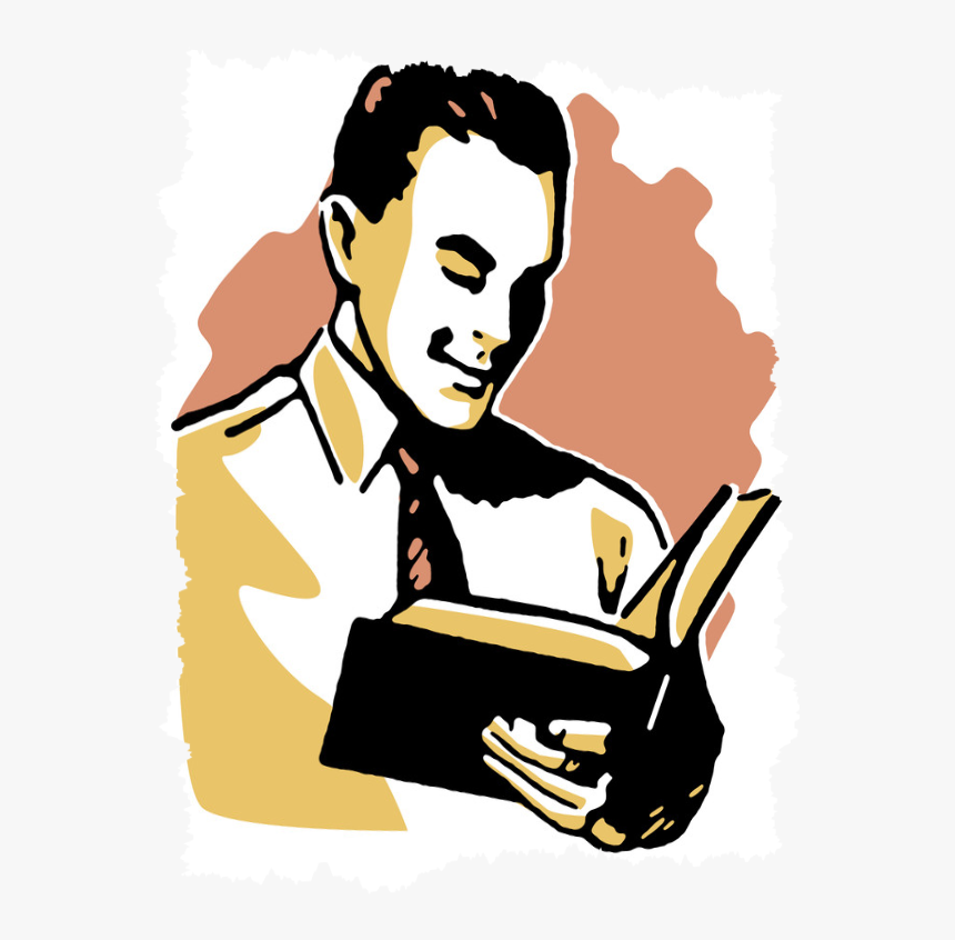 """«a Person Who Won""""t Read Has No Advantage Over One - Man Reading Book Clipart, HD Png Download, Free Download"""