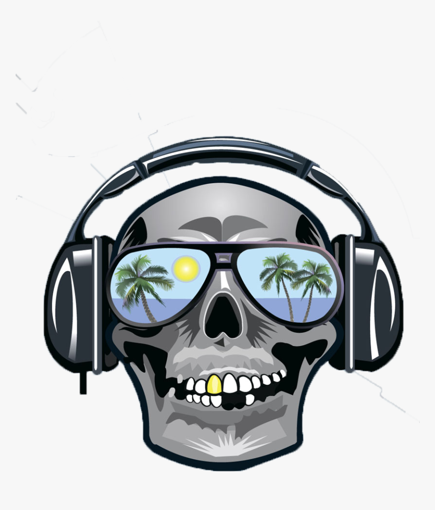 Clip Art Skull Wearing Headphones, HD Png Download, Free Download