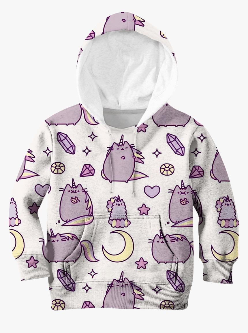Gearhuman 3d Pusheen Cat Unicorn Custom Hoodies T-shirt, HD Png Download, Free Download