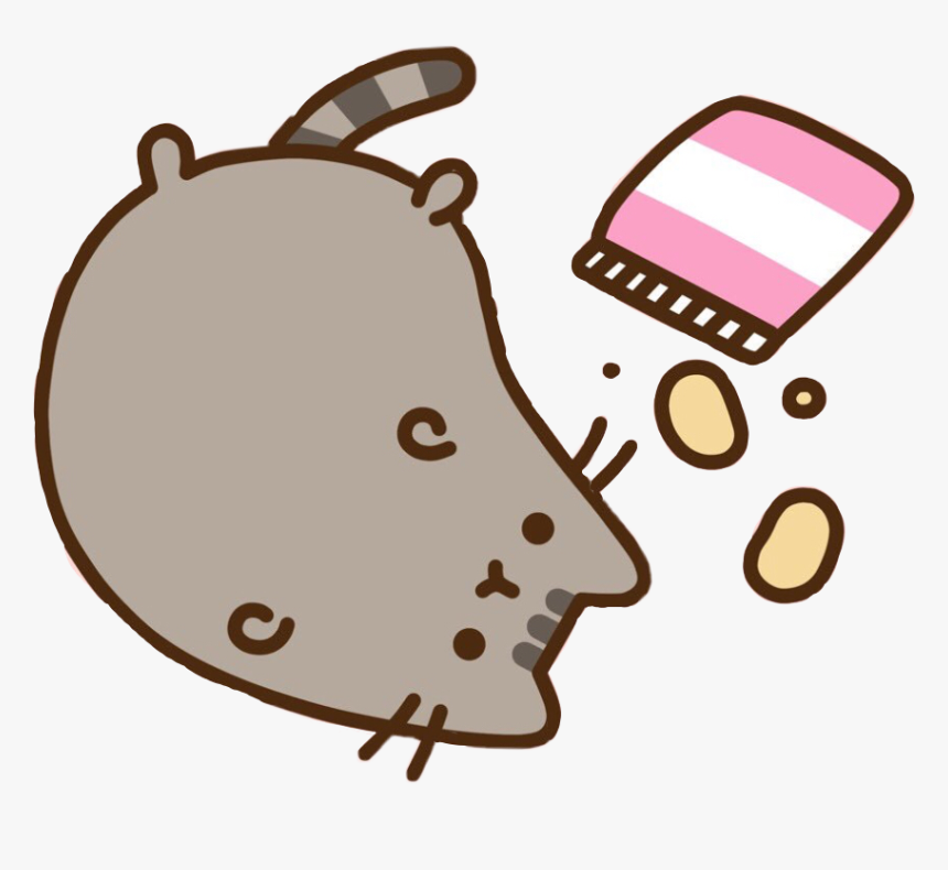 Pusheen Cat Kitty Chips Lazy Food Potato Gray Nom Cute, HD Png Download, Free Download