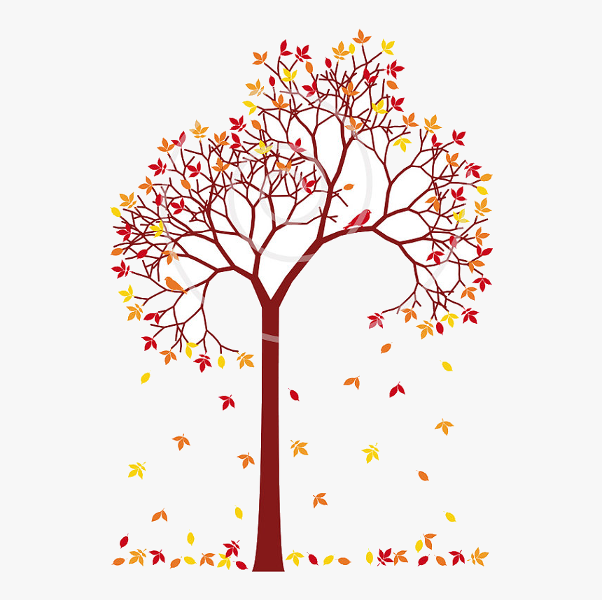 Fall Tree Colorful Leaves And Birds Dig Trees Clip - Art Of Colorful Tree, HD Png Download, Free Download