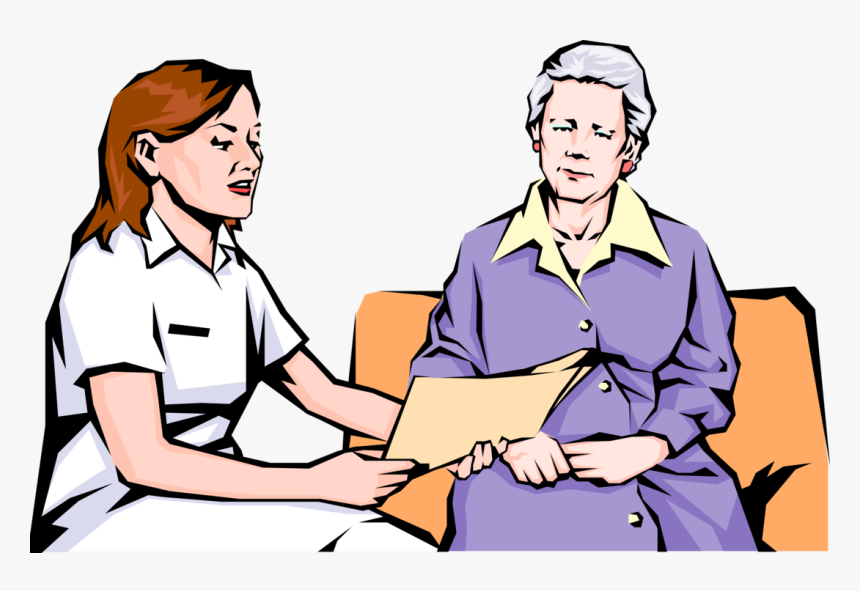 Vector Illustration Of Health Care Nurse With Elderly, HD Png Download, Free Download