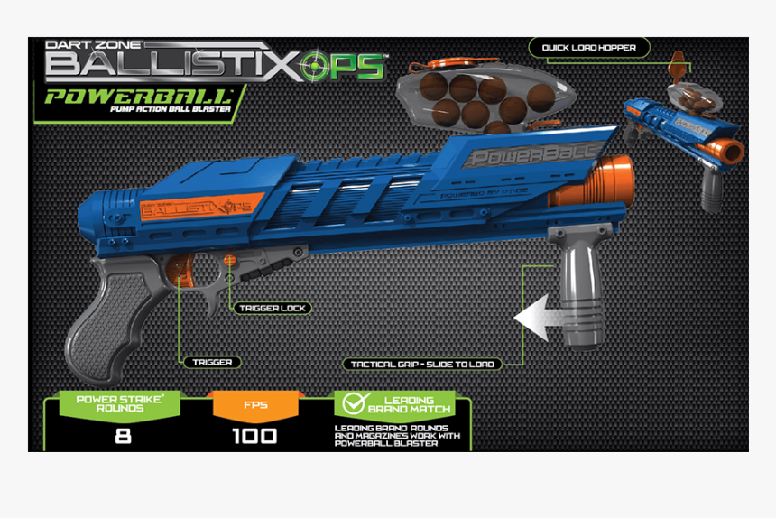 The Dart Zone® Ballistixops™ Powerball Blaster, HD Png Download, Free Download