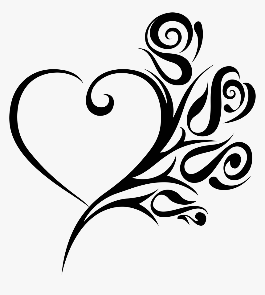 Tribal Heart Roses Clip Arts - Clipart Wedding Heart, HD Png Download, Free Download