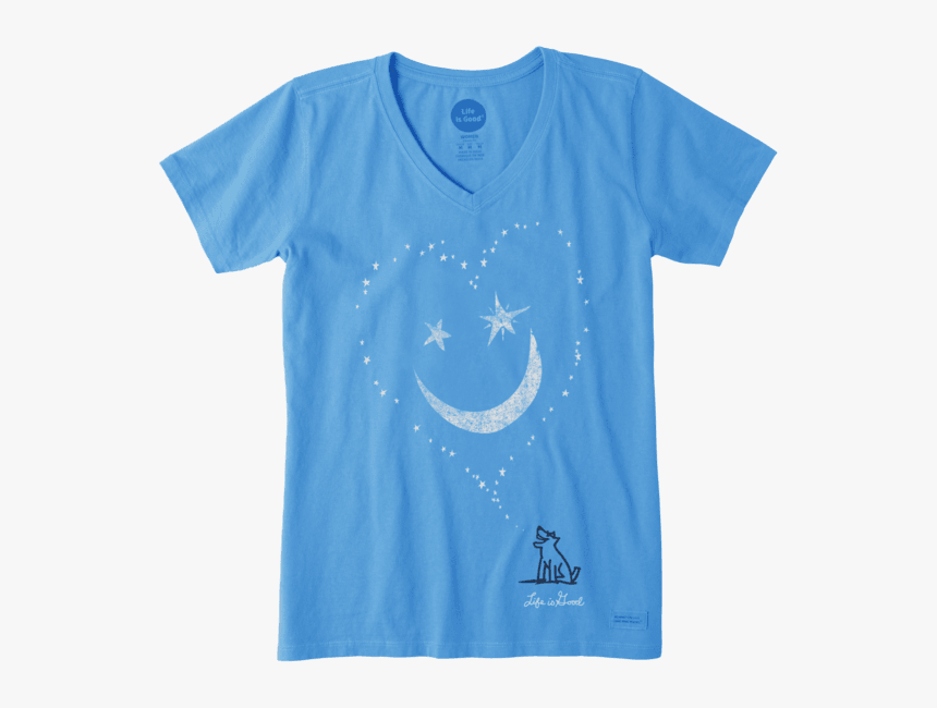 """Women""""s Smiley Face Moon Crusher Vee - Life Is Good Shirt Dragonfly Teal, HD Png Download, Free Download"""