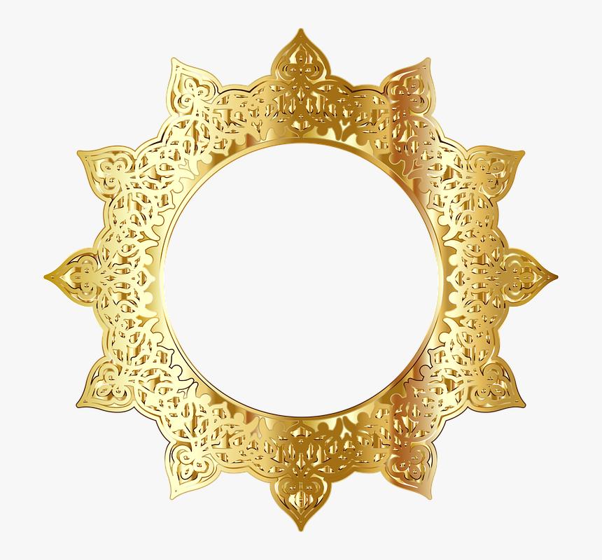 Decorative, Ornamental, Flourish, Round, Frame, Border - Golden Round Frame Png, Transparent Png, Free Download