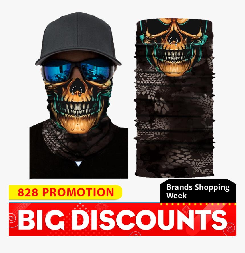 Motorcycle Mask Face Shield Biker Balaclava Ghost Unisex - Elastic Mask Bandana, HD Png Download, Free Download