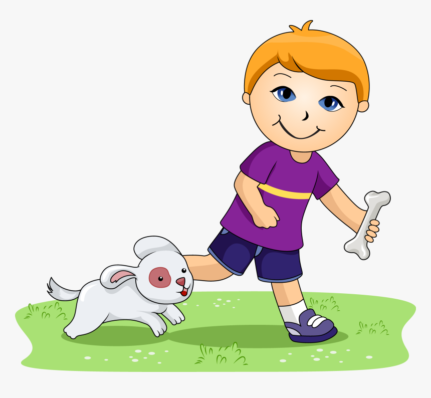 Boy And Dog Clipart, HD Png Download, Free Download